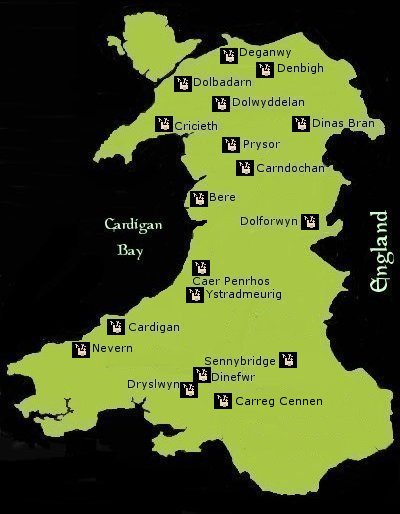 Map Welsh Castles